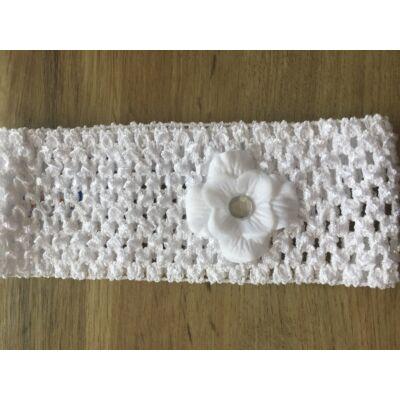 Fehér hajpánt (virág díszitéssel)